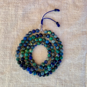 Azurite Mala (Prayer Beads) with Crystal Buddha Bead 8mm