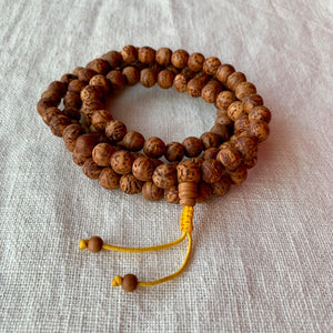 10mm Bodhi Seed Mala (Prayer Beads) with yellow string