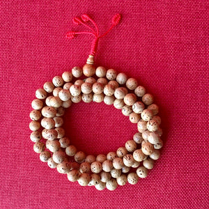 11mm Bodhi Seed Mala (Prayer Beads) with Red String and Smooth Beads
