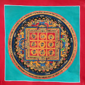 Mandala Painting Red Square Turquoise Background