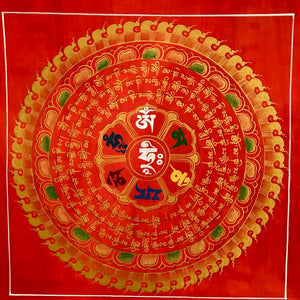 Mandala Painting Red with Om Mani