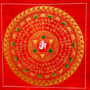 Mandala Painting Red with OM & Om Mani