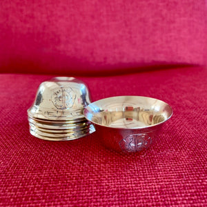 5cm Brass Offering Bowls engraved with Auspicious Symbols