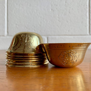 6cm Brass Offering Bowls Engraved with Auspicious Symbols