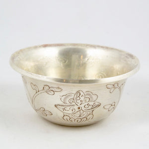 7cm Silver Plated Copper Offering Bowls etched with auspicious symbols