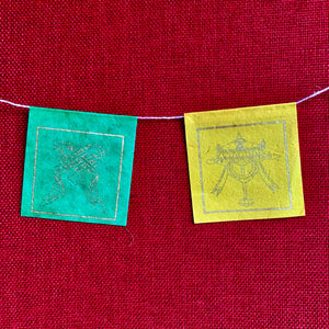 Lokta Paper Prayer Flags with 8 Auspicious Symbols, 25 flags