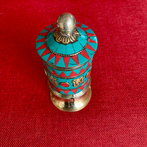 14cm Multicoloured Metal Prayer Wheel with Om Mani Mantra