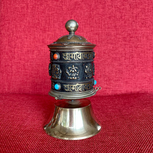 16cm Standing Prayer Wheel with 8 Auspicious Symbols and Om Mani
