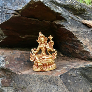 5cm Handcrafted Green Tara Statue - Copper with Gold Plating