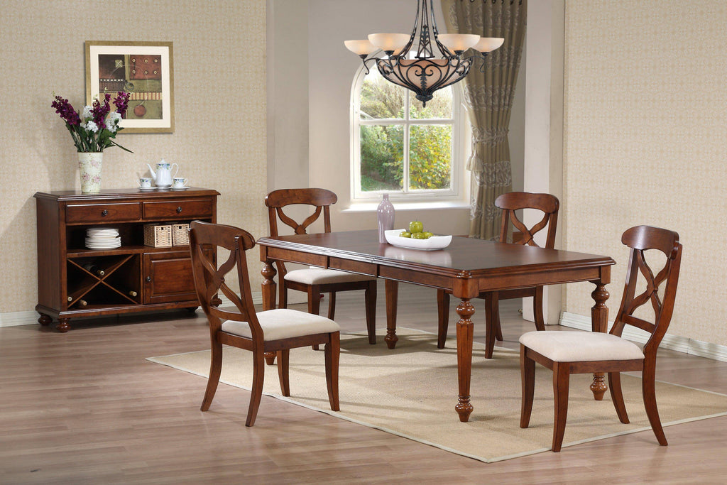 6 Piece Andrews Butterfly Leaf Dining Table Set With Server Brown