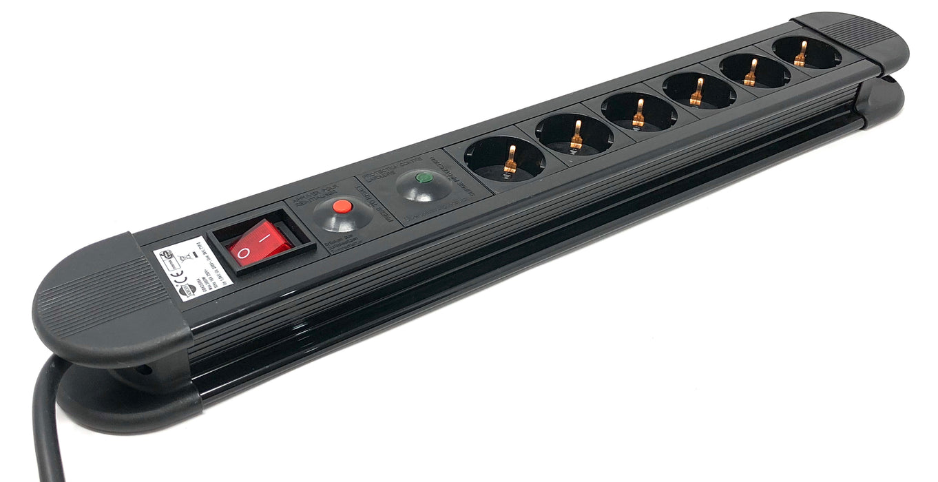 "Power strip CEE 7/4 ""Type F"", 6 Schuko 16A / 250V with on-off switch and surge protector - Mr. Tronic"