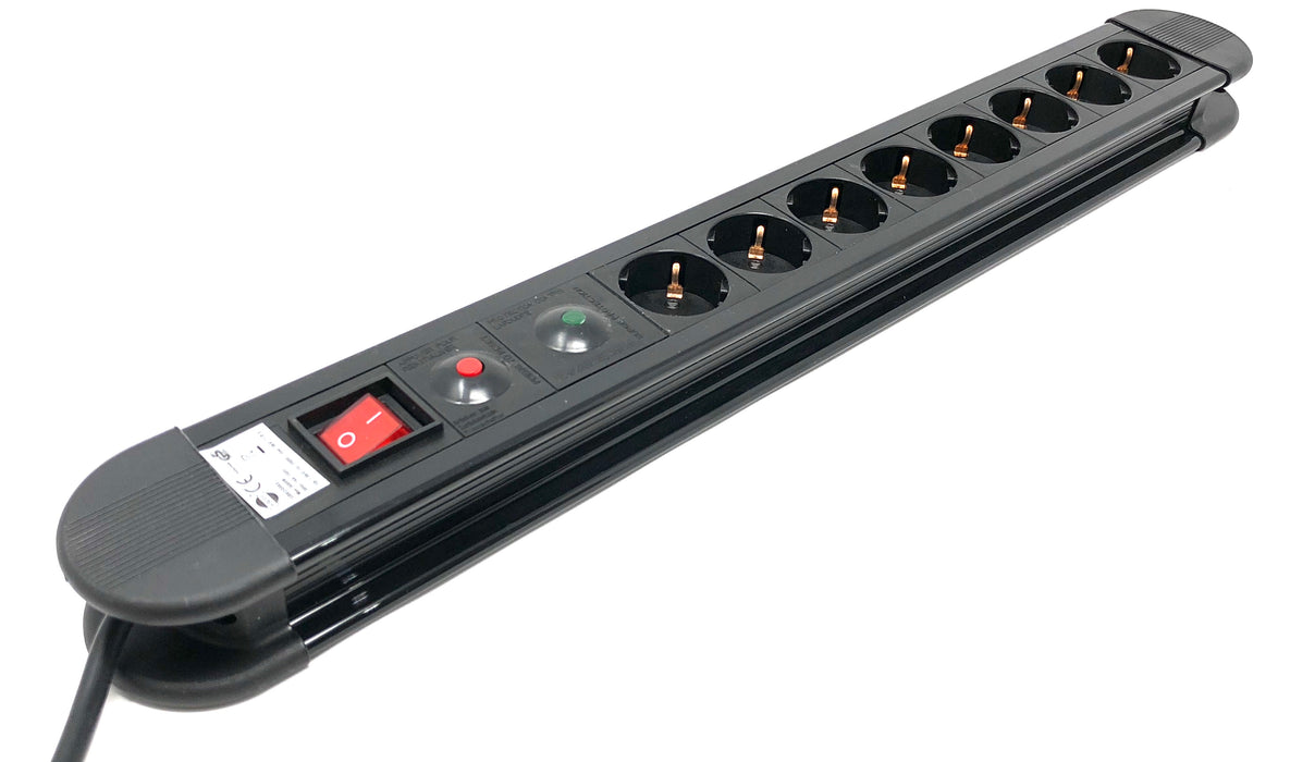 "Power strip CEE 7/4 ""Type F"", 8 Schuko 16A / 250V with on-off switch and surge protector - Mr. Tronic"