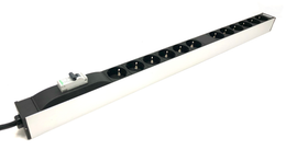 "19"" rack power strip, CEE 7/4 ""Type F"", 12 Schuko female 16A/250V frequency 50/60 Hz with magnetothermic switch - Mr. Tronic"