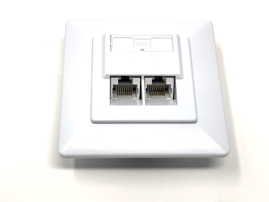Wall plate of 2 RJ45 female cat5e (80x80mm) - Mr. Tronic
