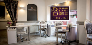 Image inside Foundations Beauty Academy with Finalist logo for beauty industry awards