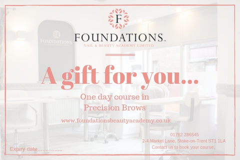 Gift voucher for one day course in precision brows at foundations. Learn hour to do the perfect brow.