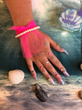 Beauty therapist nail training at Foundations - picture of hand with nail design submitted for assessment