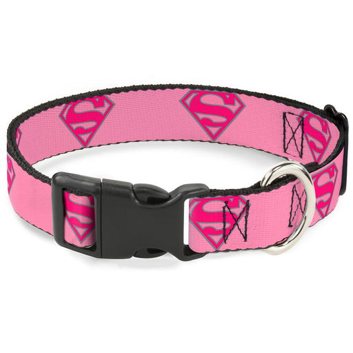 "Plastic Clip Dog Collar 1"" Wide - Superman Pink"