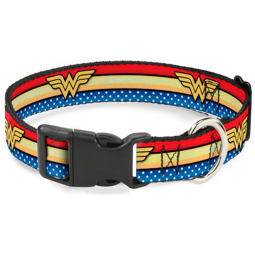 "Plastic Clip Dog Collar 1"" Wide - Wonder Woman"