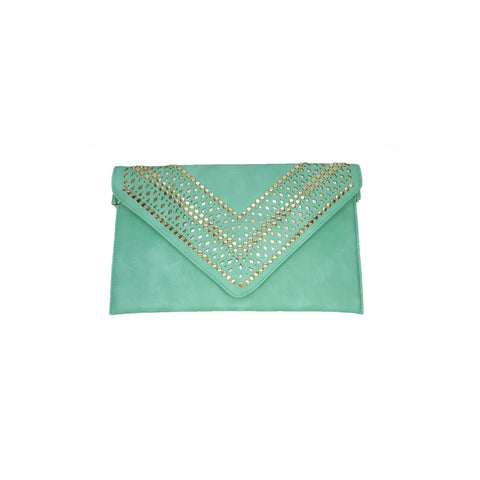 Brooke Green Studded Clutch - Styles of Soki