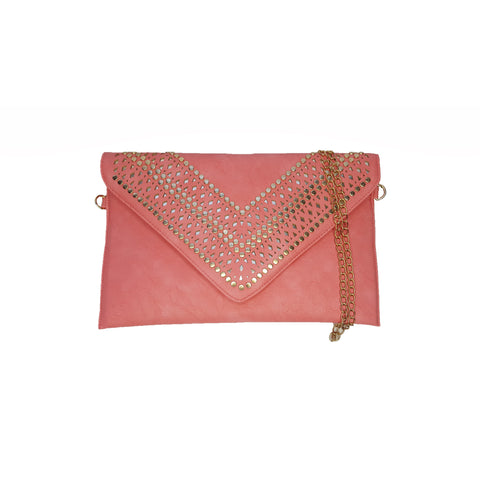 Brooke Pink Studded Clutch - Styles of Soki