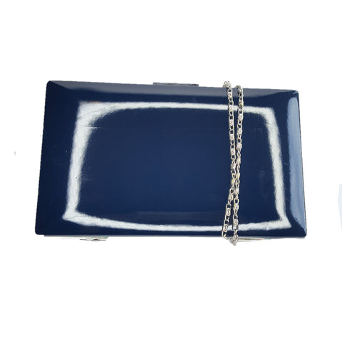 Kyla Navy Patent Clutch - Styles of Soki