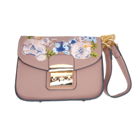 Yvette Pink Embroidered Side Bag - Styles of Soki