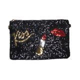 Neva Black Sequin Kiss Bag - Styles of Soki