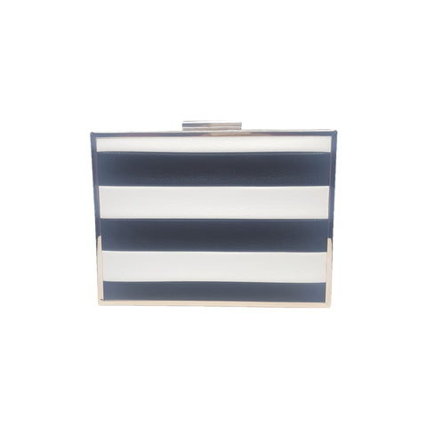 Brianna black and white stripe box clutch - Styles of Soki