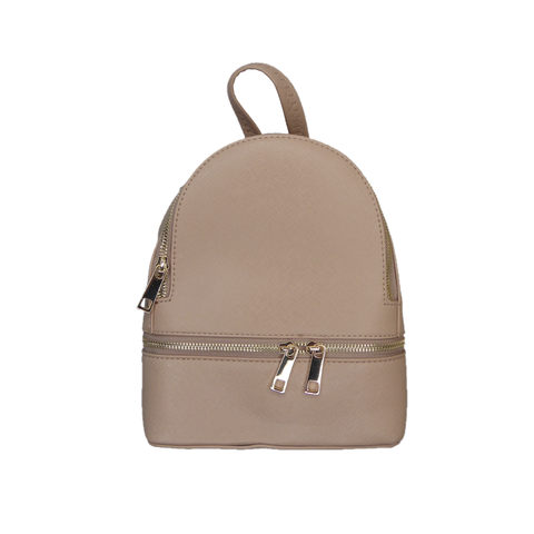 Nora Zipper backpack Dark Beige - Styles of Soki