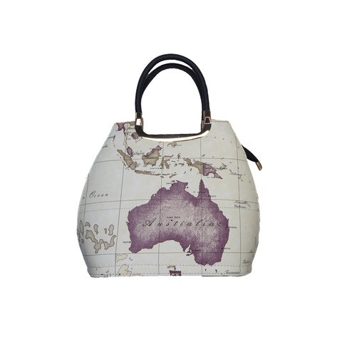 Magdalene Beige Map Handbag - Styles of Soki