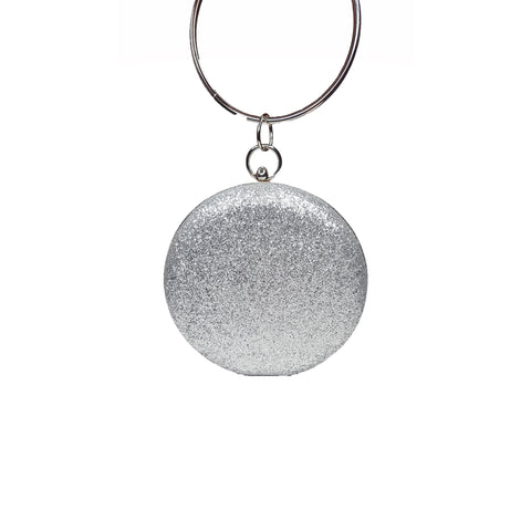 Sherrie Glitter Hanging Round Clutch Silver - Styles of Soki