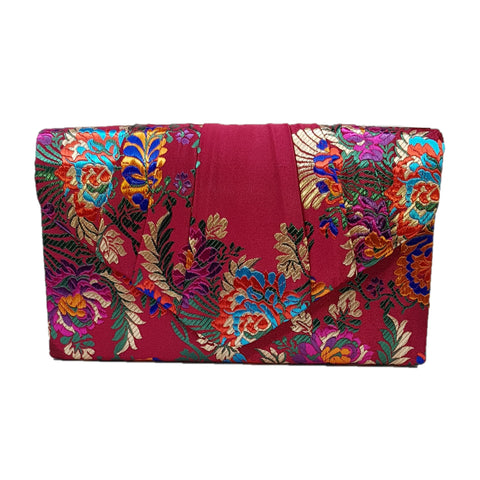 Dana Embroidered Clutch Bag Burgundy - Styles of Soki