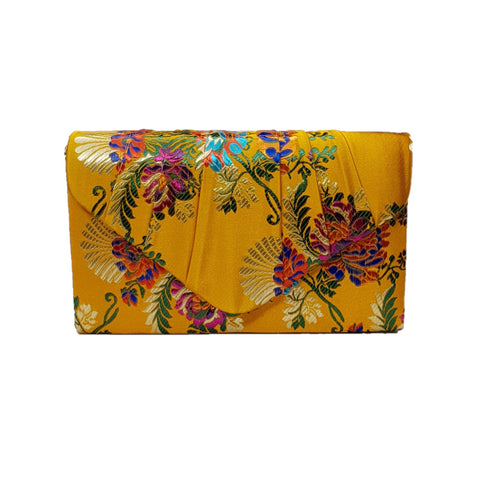Dana Embroidered Clutch Bag Mustard - Styles of Soki