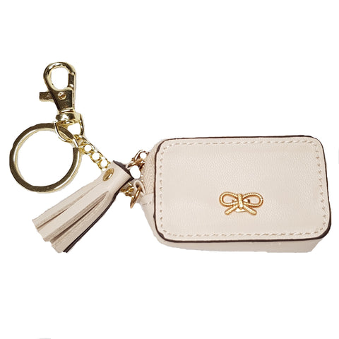 Fae Beige Bag/Key Charm Coin Purse - Styles of Soki