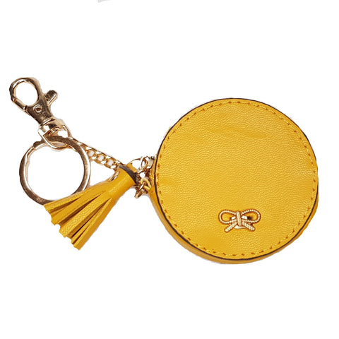 Lois Mustard Round Bag/Key Charm Coin Purse - Styles of Soki