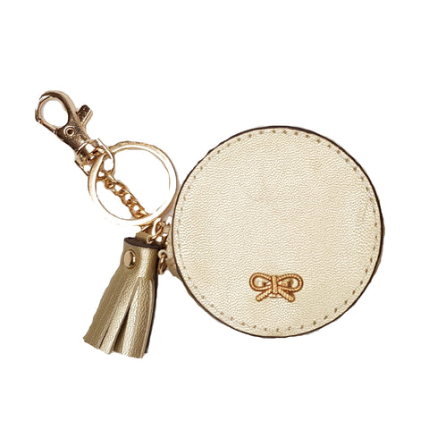 Lois Gold Round Bag/Key Charm Coin Purse - Styles of Soki