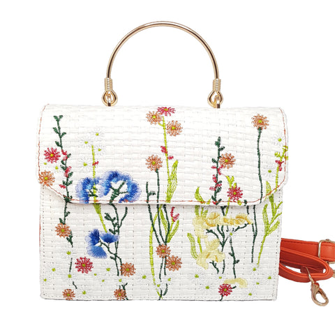 Georgia Floral Embroidered White & Orange Handbag - Styles of Soki