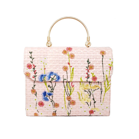 Georgia Floral Embroidered Pink Handbag - Styles of Soki