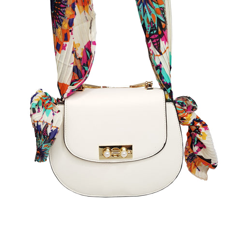 Isabella Crossbody Bag White with Scarf Tie Handle - Styles of Soki