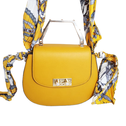 Isabella Crossbody Bag Mustard with Scarf Tie Handle - Styles of Soki