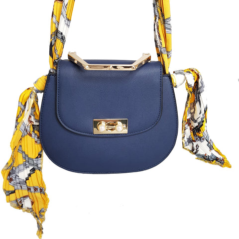 Isabella Crossbody Bag Blue with Scarf Tie Handle - Styles of Soki