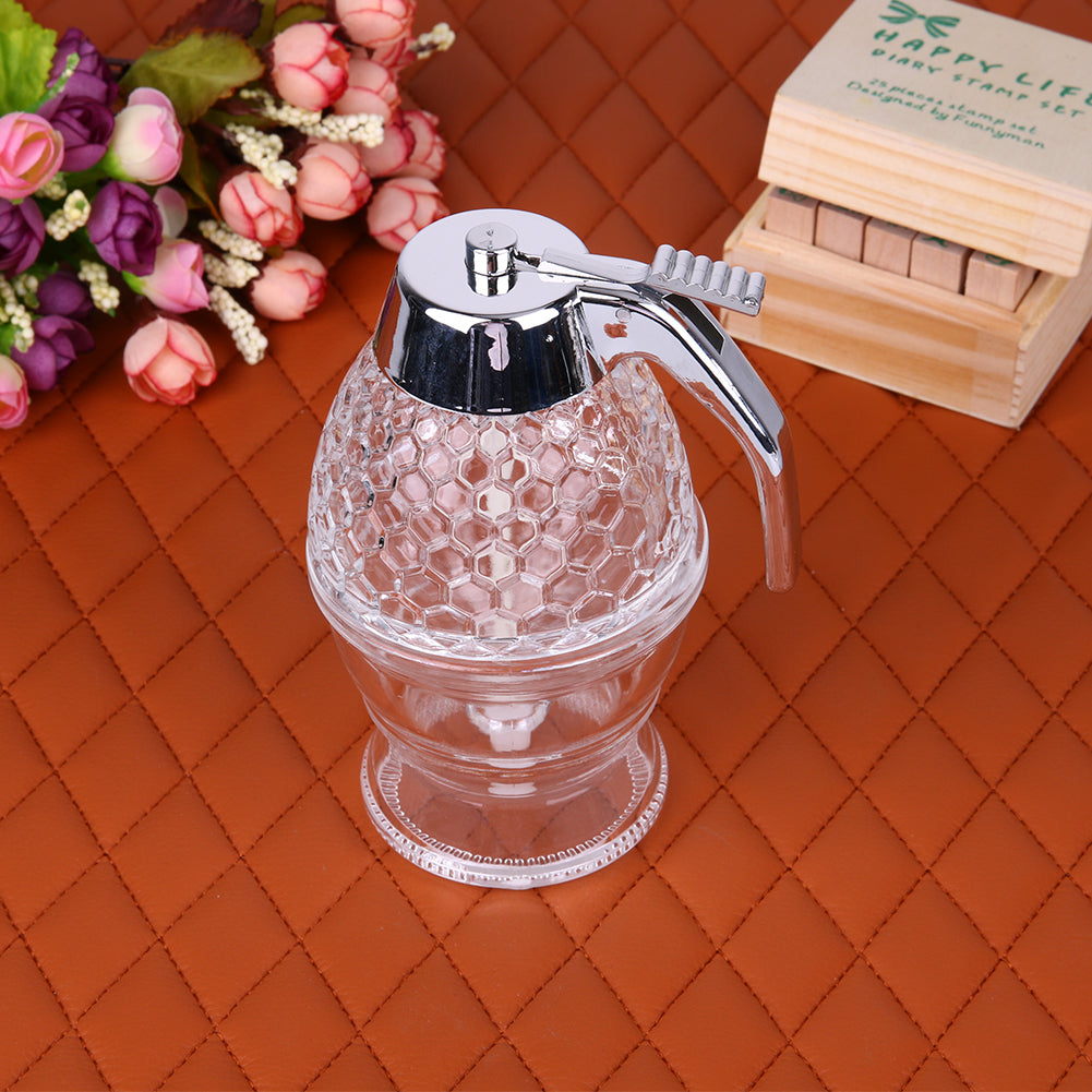 0b2a48b1fd8a Portable 200ML Honey Dispenser Jar Container Acrylic Cup Juice Syrup Kettle  Kitchen Bee Drip Stand Holder Spice Tools