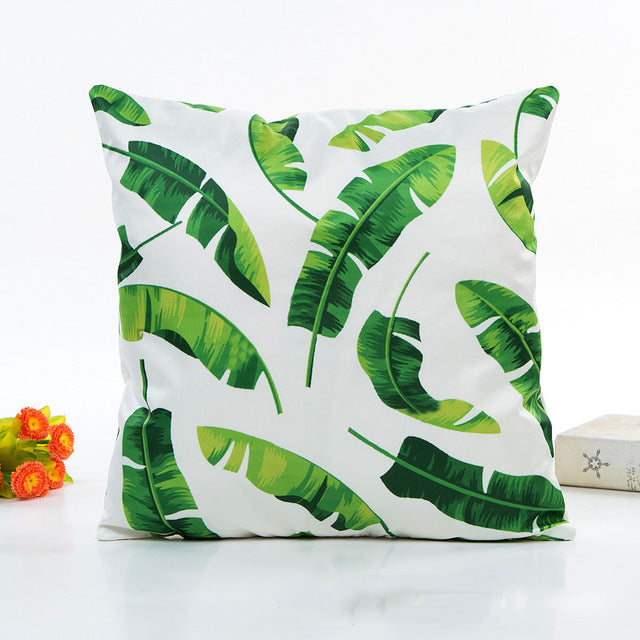 U-miss Africa Plant Printed Cushion Cover Green Leaves Linen Pillow