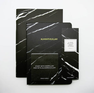 Marble Hardcover Notebook ( Black/Gold Alhamdulillah)