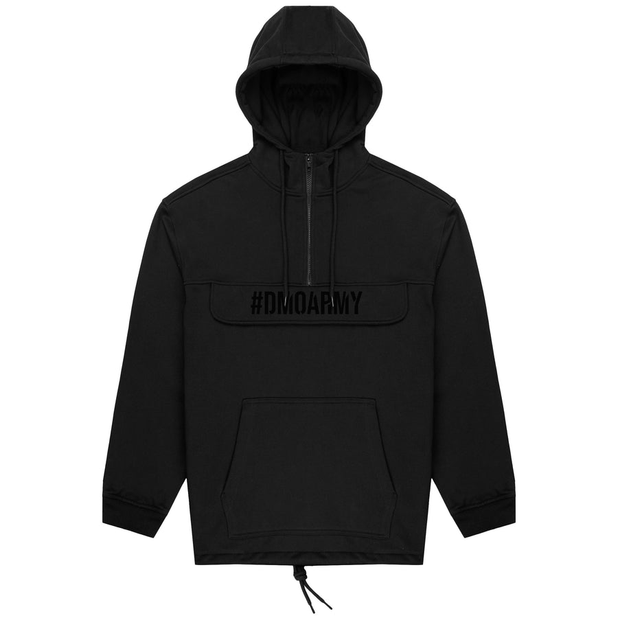 PULLOVER RAINCOAT WITH ZIP POUCH - BLACK ON BLACK