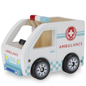 Kids Wooden Cars, Wooden Wheels Natural Beech Wood Ambulance Wooden Car Toys