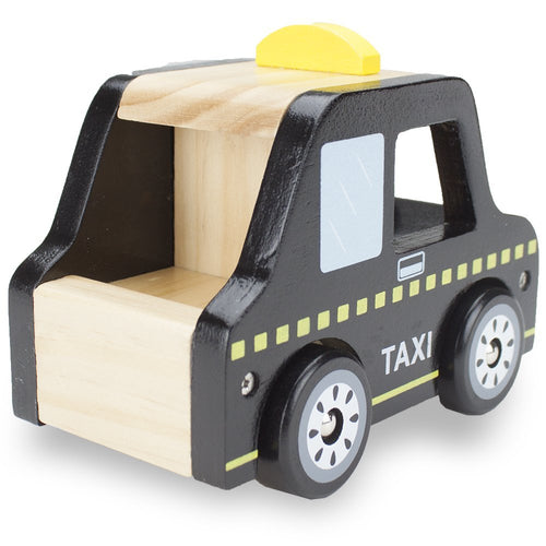 Natural Beech Wooden London Style Taxi Cab | Wooden Toys | Montessori Toys