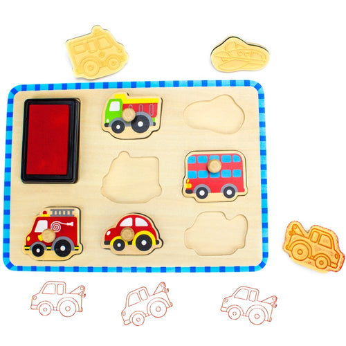 Wooden Toddler Vehicle Stamp Set | Wooden Toys | Montessori Toys