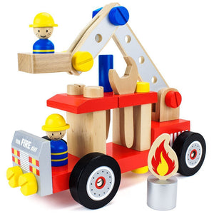 Toy Playset, 34pcs Wooden Wonders Diy Fire Engine Kids Toys Playsets | Wooden Toys | Montessori Toys